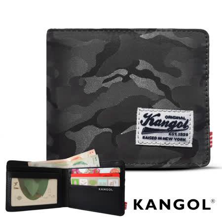 【KANGOL】韓式潮流-多夾層橫式短皮夾+鑰匙圈禮盒 (迷彩灰 KG1162-12)