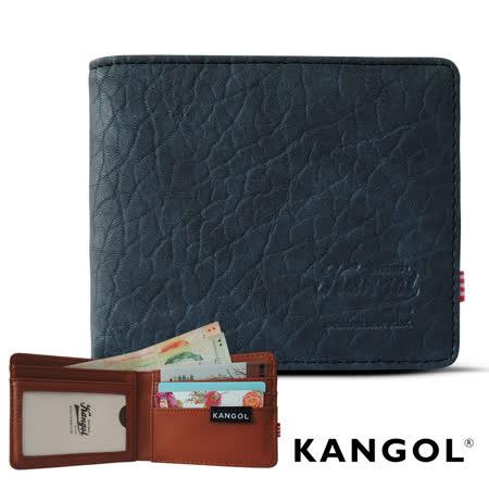 【KANGOL】韓式潮流-多夾層橫式短皮夾+鑰匙圈禮盒 (皮紋靛 KG1162-13)