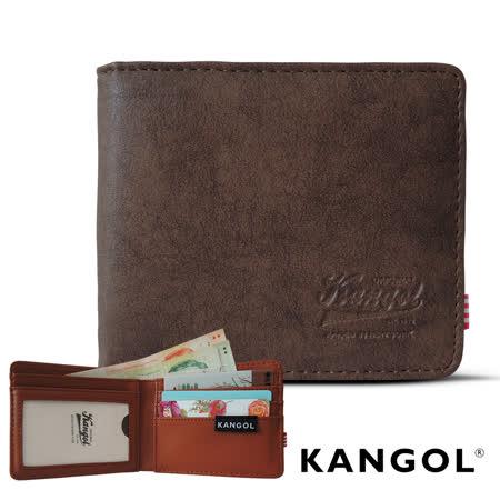 【KANGOL】韓式潮流-多夾層橫式短皮夾+鑰匙圈禮盒 (皮紋褐 KG1162-15)