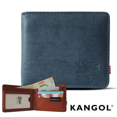 【KANGOL】韓式潮流-多夾層橫式短皮夾+鑰匙圈禮盒 (皮紋褐 KG1162-16)