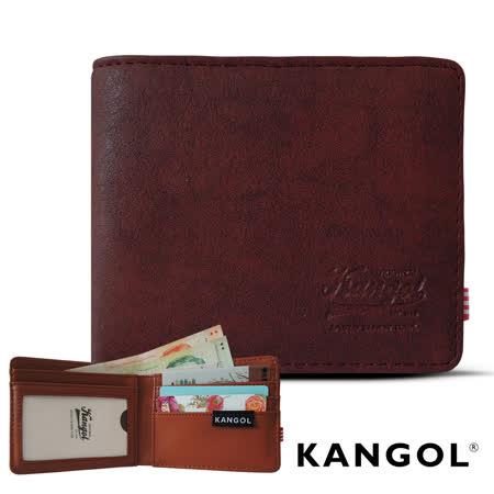 【KANGOL】韓式潮流-多夾層橫式短皮夾+鑰匙圈禮盒 (皮紋紅 KG1162-17)