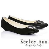 Keeley Ann優雅迷人方形飾釦OL全真皮平底鞋(黑色685028110)