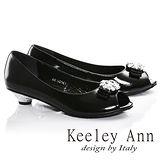 Keeley Ann高貴質感漆皮全真皮鑽飾低跟魚口鞋(黑色685058110)