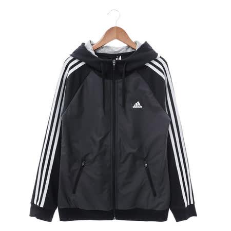 Adidas (女) 棉質--運動外套(連帽) 黑 AZ4860