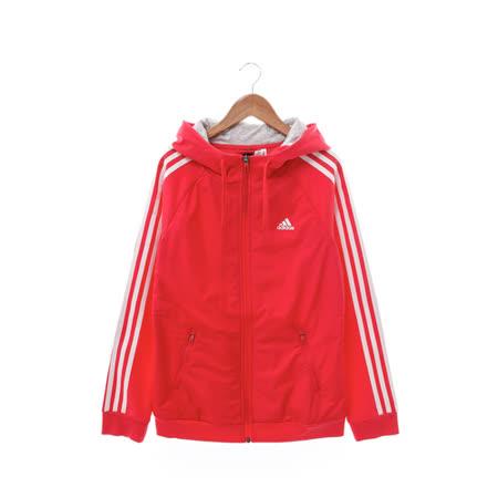 Adidas (女) 棉質--運動外套(連帽) 紅 AZ4859