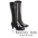 Keeley Ann極簡魅力金屬飾釦真皮中跟長靴(咖啡色689368170)