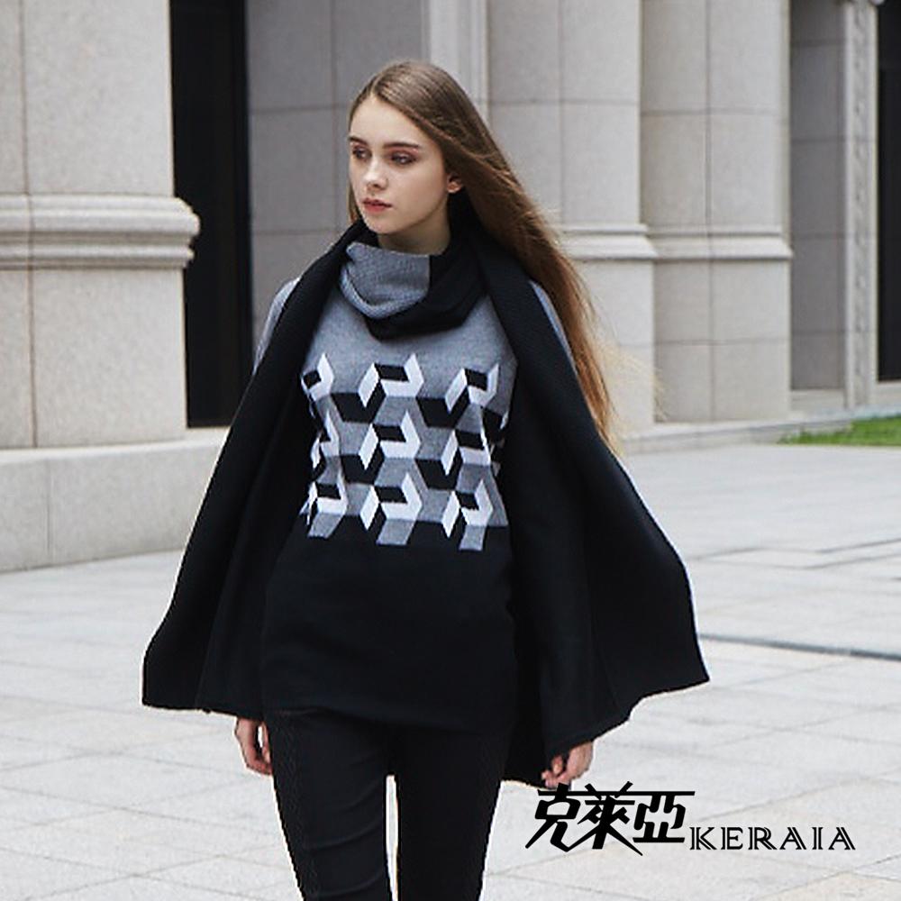 【克萊亞KERAIA】羊毛幾何長版上衣-附脖套