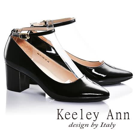 Keeley Ann漆皮質感素面腳踝繫帶全真皮粗跟中跟鞋(黑色685113410)