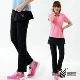 【遊遍天下】MIT台灣製假兩件式抗UV彈性休閒長褲(黑色M-2L品特)