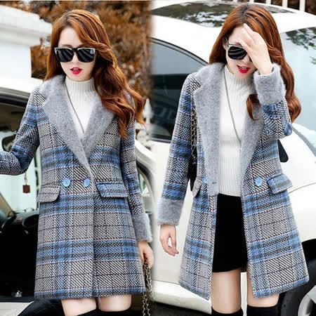 【韓國K.W.】秋冬新款中長款修身英倫格子毛呢大衣(現貨在台)