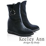 Keeley Ann極簡步調-圓形金屬環扣造型內增高短靴(藍色677712160-Ann系列)