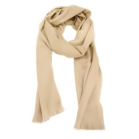 GUCCI 100%羊毛單色流蘇圍巾(卡其)