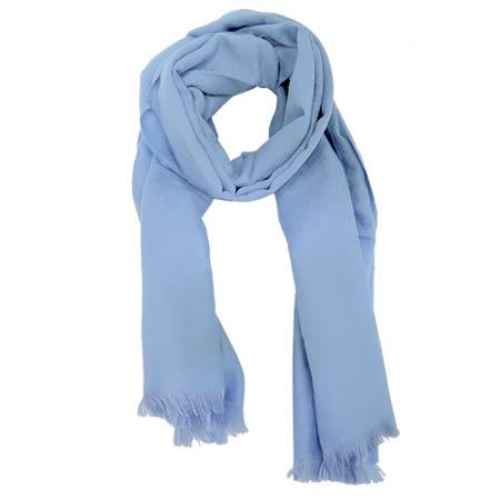 GUCCI 羊毛單色流蘇圍巾(粉藍)