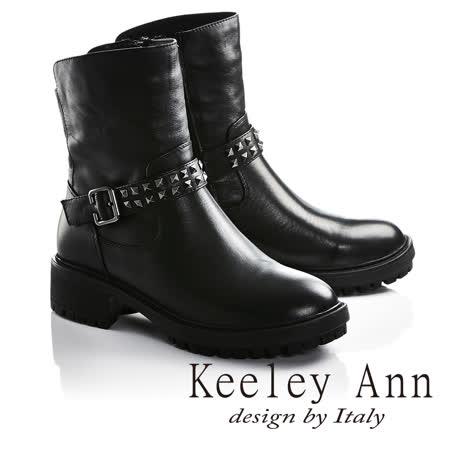 Keeley Ann龐克風潮鉚釘腰帶真皮機車短靴(黑色牛皮677892110-Ann系列)