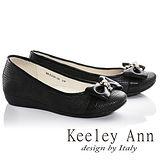 Keeley Ann甜美氣息-蝴蝶結方格紋全真皮娃娃鞋(黑色685118110)