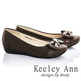 Keeley Ann甜美氣息-蝴蝶結方格紋全真皮娃娃鞋(咖啡色685118170)