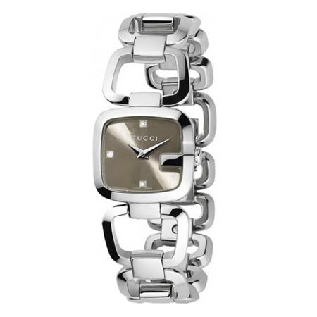 GUCCI G-Gucci 時尚晶鑽鍊帶錶-咖啡/23mm YA125503