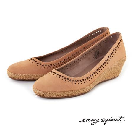 Easy Spirit--輕巧舒活草編楔型鞋--舒適駝