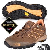 【美國 The North Face】女款 GORE-TEX低筒登山健行鞋.運動鞋.越野鞋/Vibram黃金大底/CLW5 水獺棕/馬克橘 V