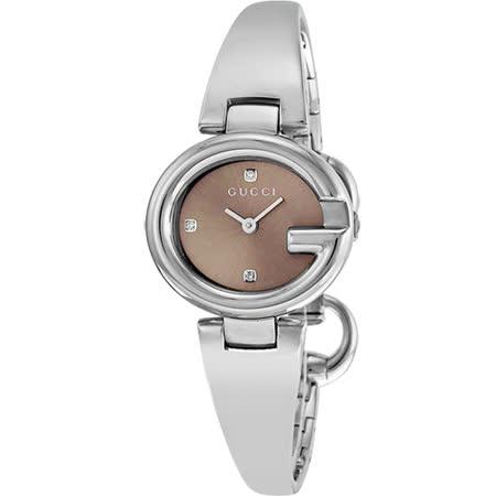 GUCCI 古馳 Guccissima 時尚真鑽手鐲女錶-咖啡x銀/27mm YA134506