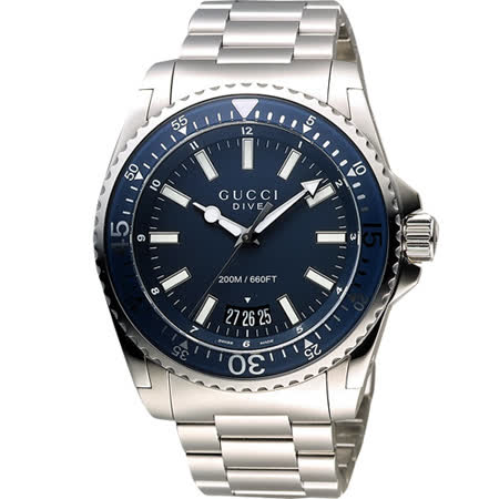 GUCCI Dive 時尚旗艦款200米潛水錶-藍x銀/45mm YA136203