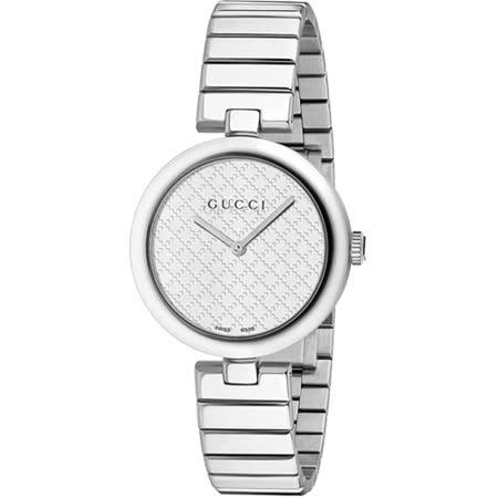 GUCCI 古馳 Diamantissima 菱格紋腕錶-銀/32mm YA141402