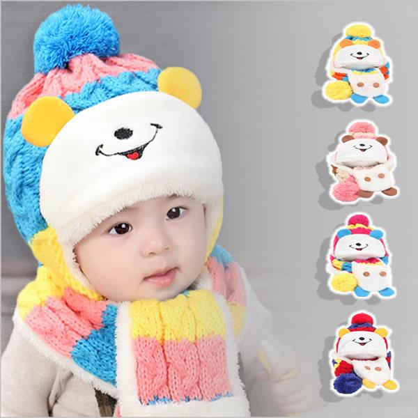兒童可愛造型米奇毛線保暖護耳帽子+脖圍