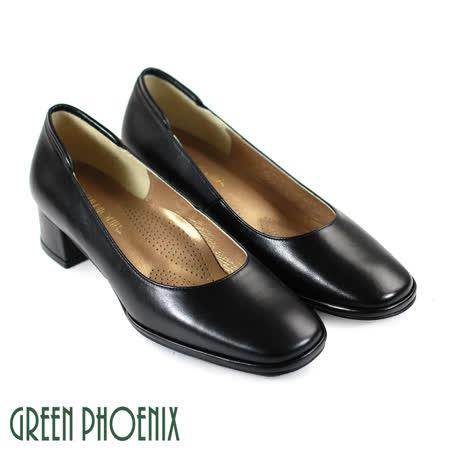 【GREEN PHOENIX】優雅OL風氣質舒適粗跟中跟鞋