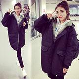 【韓國K.W.】寬鬆中長款加厚保暖羽絨棉外套(在台現貨)