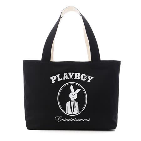 PLAYBOY- MR.PLAYBOY 反正都冏 帆布袋-黑白