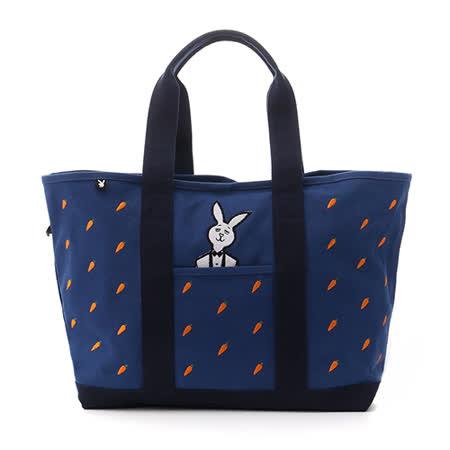 PLAYBOY- MR.PLAYBOY 冏兔愛吃紅蘿蔔 托特包-藍色