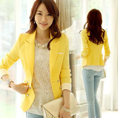 《韓國K.W.》韓式.典雅純色條紋排扣西裝外套(在台現貨)