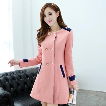 《韓國K.W.》俏麗甜心 撞色雙排扣大衣(在台現貨)