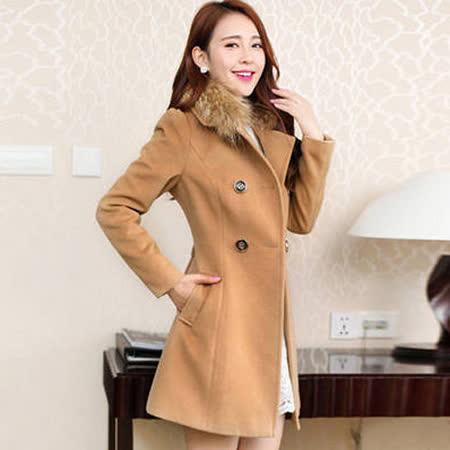《韓國K.W.》毛毛領雙排扣大衣(在台現貨)