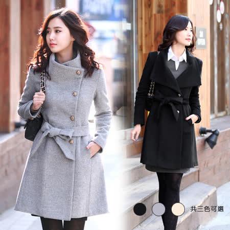 《韓國K.W.》經典暢銷.激瘦翻領大衣(在台現貨)