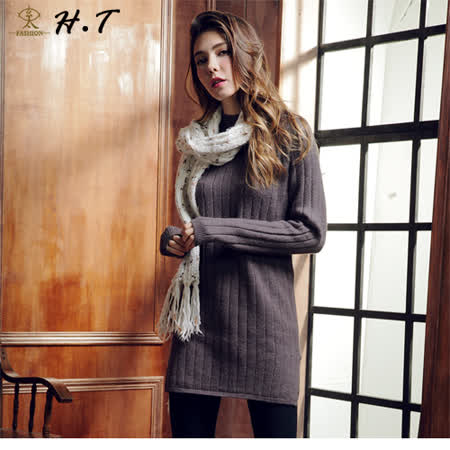 玄太-柔感細緻織紋側開叉針織長版上衣(灰)
