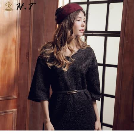 玄太-摩登亮彩側開叉七分袖洋裝(黑)
