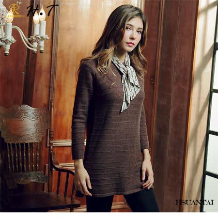 玄太-柔感細緻織紋側開叉針織長版上衣(咖啡)