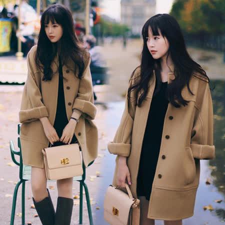 《韓國K.W.》復古學院文藝氣質長版風衣(在台現貨)