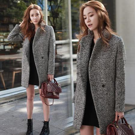 《韓國K.W.》冬季保暖毛絨感翻領外套(在台現貨)