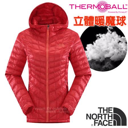 【美國 The North Face】女款 PrimaLoft ThermoBall 超輕量暖魔球保暖連帽外套(可機洗).兜帽夾克.大衣/媲美羽絨科技/CUD4 瓜紅 V