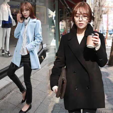 【韓國K.W.】秋冬韓版雙排釦純色毛呢大衣外套(在台現貨)
