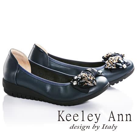 Keeley Ann年代風華-串珠蝴蝶結OL真皮楔形娃娃鞋(藍色685348160)
