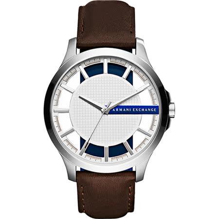 A│X Armani Exchange 時尚鏤空腕錶-銀x咖啡/46mm AX2187