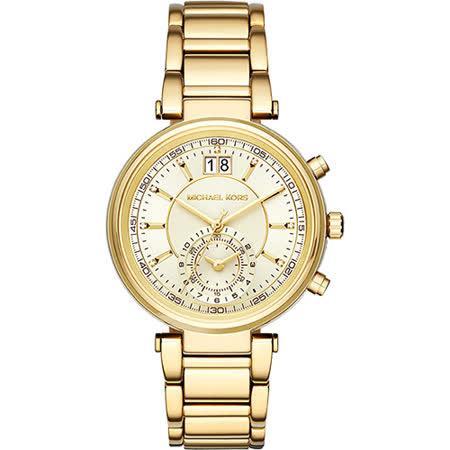 Michael Kors MK Sawyer 美式晶鑽計時腕錶-金/38mm MK6362