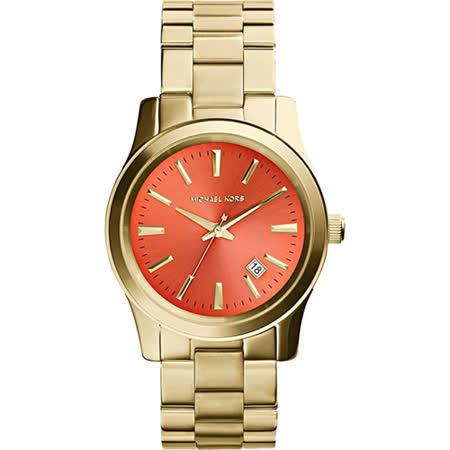Michael Kors Runway 紐約時尚腕錶-橘x金/38mm MK5915