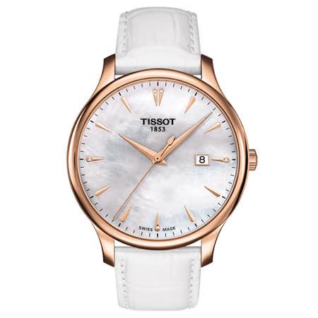 TISSOT 天梭 Tradition 經典大三針真鑽石英腕錶/42mm/T0636103611601