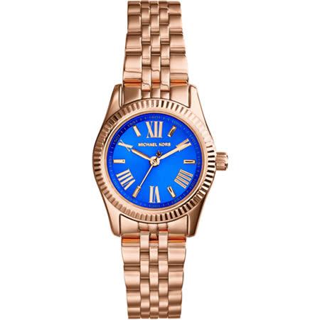 Michael Kors 羅馬時尚腕錶-藍x玫塊金/26mm MK3272