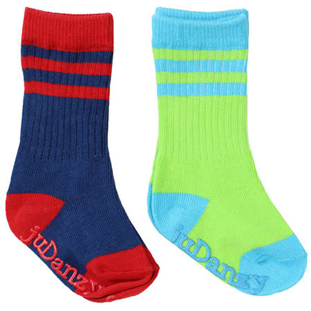 美國 juDanzy長襪兩入組_螢光綠/深藍(930)