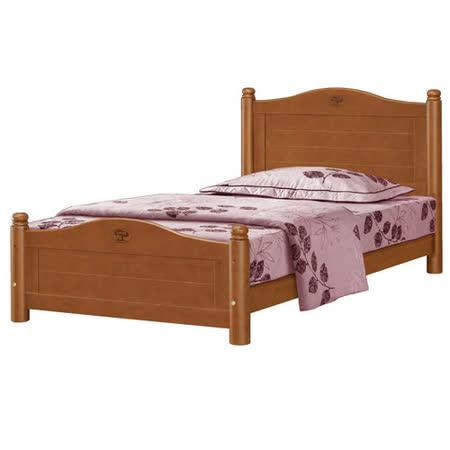 優力格家具-3.5尺圓柱柚木色單人床/床架/床台/附四分床板
